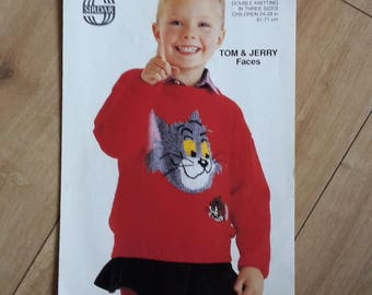 Tom & Jerry Faces Sweater Pattern Sirdar 4719, Tom and Jerry Sweater Knitting Pattern, Tom and Jerry Faces Jumper Knitting Pattern,