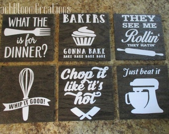 funny kitchen signs set of 6, song kitchen signs, farmhouse, rustic, what the fork is for dinner, they see me rollin'