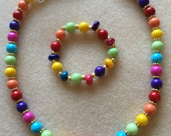Multicolor beaded necklace & bracelet