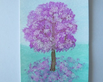 Original Watercolor Cherry Tree Painting ACEO (Art Trading Card)
