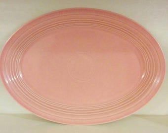 """Vintage Fiestaware Oval Platter in """"Newer"""" Rose color (Post 86)"""