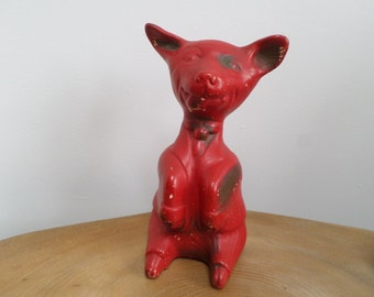 Quirky and Comical Art Deco Ceramic Red Dog Figurine - cheeky smile,caricature style, Carnival prize,fairing