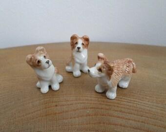Satz von 3 Miniatur Hand bemalte Porzellan Welpen, Hunde, Figurinen - Collies?