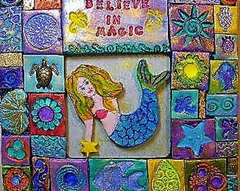 Mermaid, polymer clay mosaic, wallart, art, wall plaque