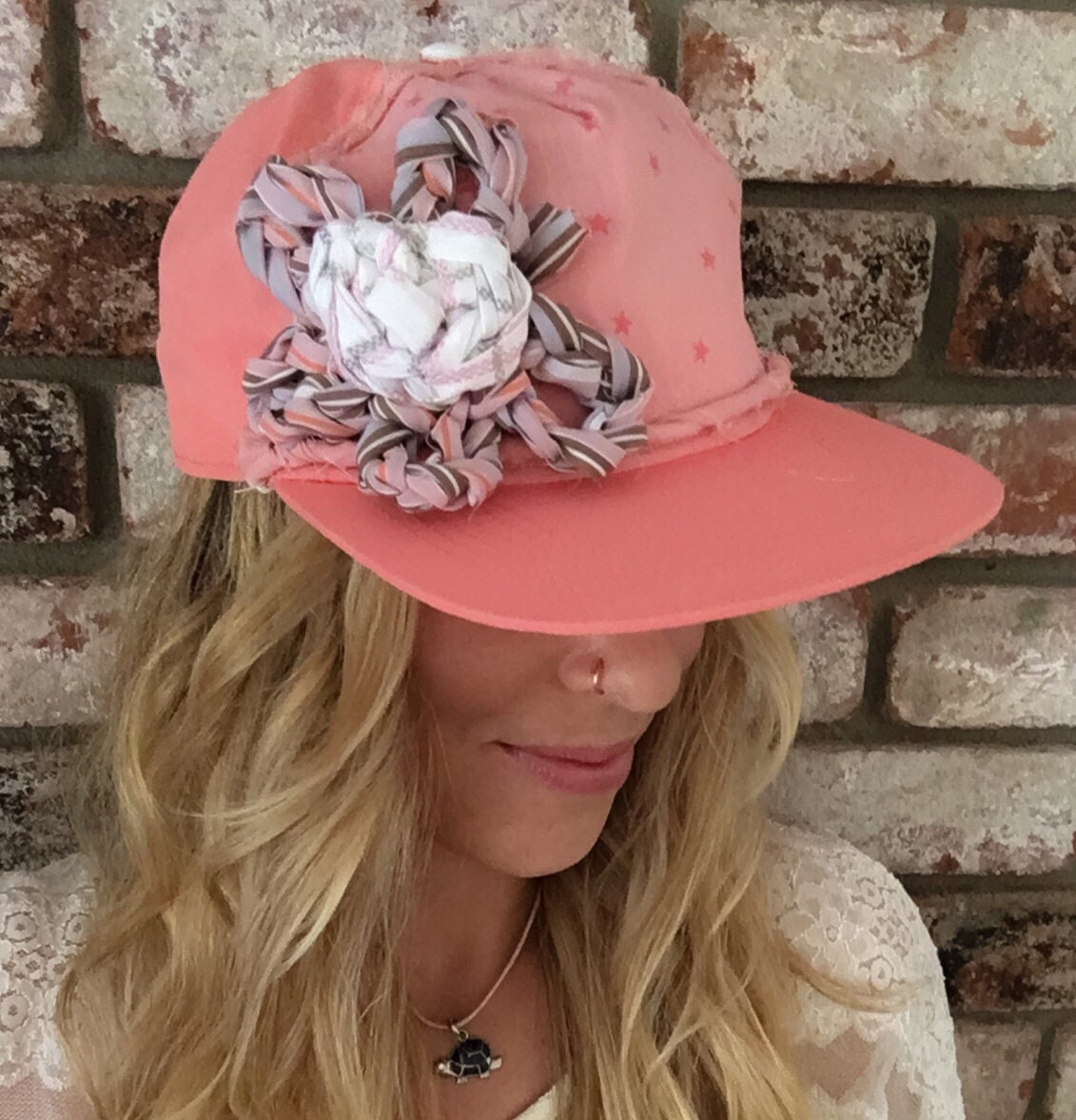 Women s coral pink trucker hat snapback hat with flower c4e1b83f054c