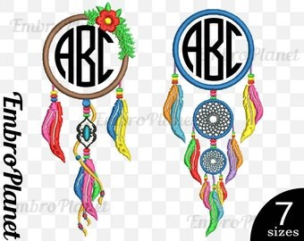 Circle Dream Catcher - Designs for Embroidery Machine Instant Download Digital File 4x4 5x7 hoop icon symbol sign monogram name text 660e
