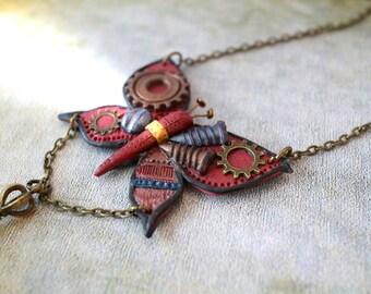 Steampunk Butterfly Necklace Clockwork Butterfly Steampunk Jewellery Red Butterfly