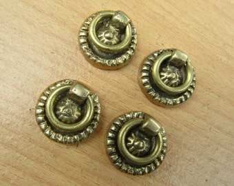 Lot of 4 pcs Vintage Classic Round Dresser Pull,Antique Brass Drawer Handle KN29A