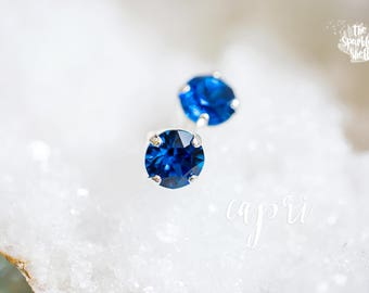 Capri Swarovski Shiny Silver Stud Earrings - 8mm