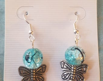 Marbled teal bead and butterfly earrings