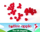 20 x 6mm Czech Pressed Glass Semi Opaque Frosted Cherry Red Heart Beads