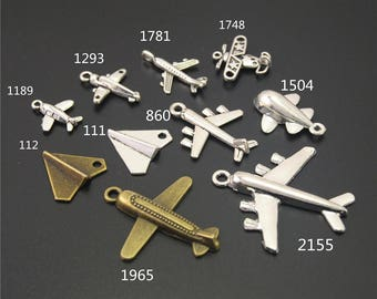 20PCS, Plane Charm ,Airplane charm, Aircraft Charm, Antique Silver, Vintage Charm, Findings, Jewelry Accessories, Craft Supplies