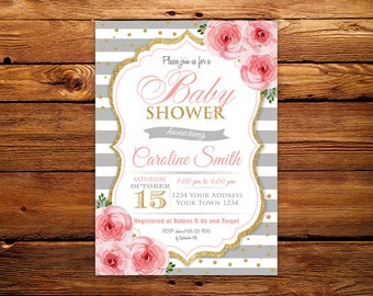 Baby Shower Invitation Floral. Pink and Grey Baby Shower Invitation.  Baby Shower Invitation. Grey Pink and Gold. Grey and White Stripe.