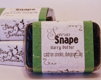 Severus Snape, Harry Potter Activated Charcoal Glycerin Soap Bar - Handmade Custom Book Character Scent - Hogwarts, Wizard, Coconut Carbon