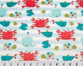 Shannon Minky Fabric, Shannon Cuddle Minky Fabric, Go Fish Cuddle Minky, Whale Minky Fabric, Crab Minky Fabric, Minky Fabric By The Yard