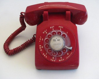 Vintage Red ITT 500 Dial Phone