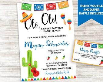 Fiesta Baby Shower Boy Invite Invitation Sprinkle Digital 5x7 Personalized Tacos Ole Mayo