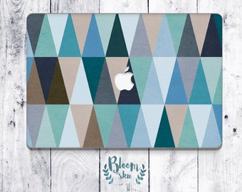 Blue mac decal Mac skin Geometric mac sticker Laptop sticker Vintage laptop skin Blue vintage geometric decal laptop decal BS024