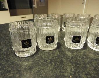 Royal Krona-  Sweden , set of 6 kristall glasses