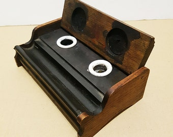 Victorian Antique Oak Inkwell Stand with Porcelain Inkwells, circa 1870