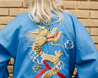 SPRING CLEANING! 50% off! Vintage Japanese Satin Hand Embroidered Dragon Robe / Size Med-LG / Authentic Japanese made / 1970