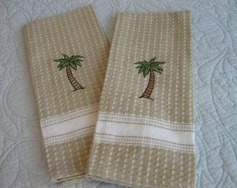 Kitchen Towels / Palm Tree Towels / Cotton Kitchen Towels