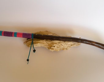 Stained Driftwood & Lemurain Seeded Crystal Wand - 57cm