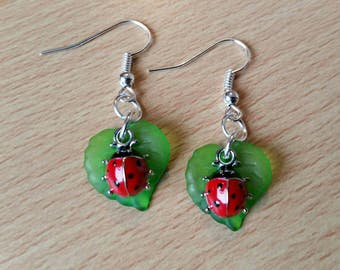 Ladybird earrings, ladybird and leaf earrings, ladybug earrings, jewellery