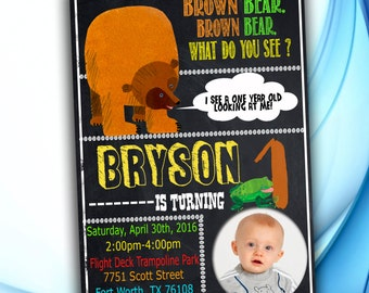 Brown Bear, Brown Bear Birthday Invitation - Brown Bear, Brown Bear Birthday Party
