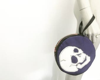 Skull Leather Clutch Bag - Purple and Black Recycled Leather