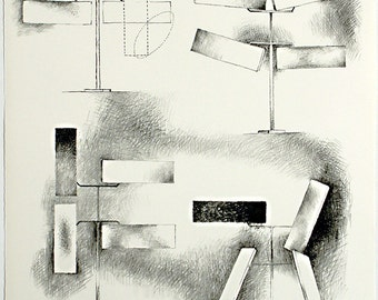 Four rectangles, 1973. Lithograph by George RICKEY