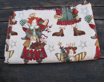Vintage Ragg Angels Calico Christmas Sewing Fabric Patchwork for Quilting & Crafting 1.3 yards x 44""