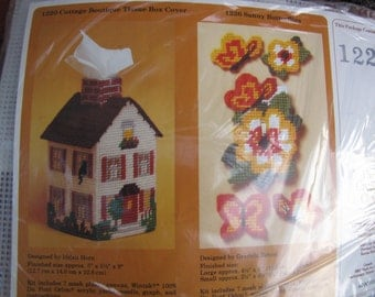 Plastic Canvas Tissue Box House Kit The Creative Circle Cat in the Window