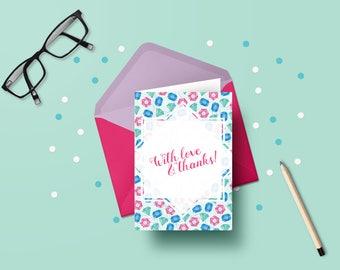 Printable thank you card | Jewels | DIY