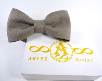 Beige Gray Linen Bow Tie, Men's Linen Bow Tie, groomsmen bow tie, grey bow tie, bow tie for baby, Grey boy's bow tie.
