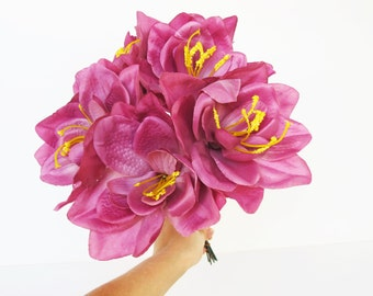 "12 Amaryllis Lilies Silk Lily Artificial Flowers Dark Pink Soft Bordeaux 6"" Floral Supply Supplies Wedding Flower Faux Fake S"