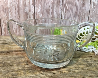 Vintage Etched Glass Sugar Bowl-Clear Glass- Handled