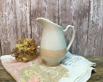 Homer Laughlin China Creamer/White Ironstone/Peach Stripe/USA