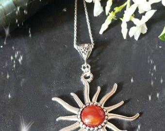Sun pendant necklace and Central carnelian stone