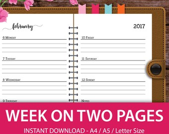 Week on Two Pages, 2017 Planner Weekly, 2017 Planner Inserts, 2017 Weekly Planner, 2017 Agenda, A5 Planner, Planner 2017, A4 Planner