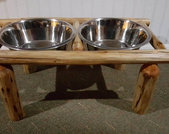 Log Furniture, Log Dog Dish Station, Log Pet Dish Station, Dog Dish Holder, Pet Dish Holder, Cabin Furniture
