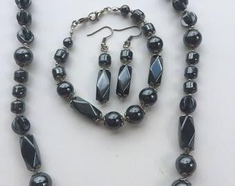 Gunmetal jewellery set - Gray