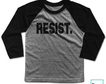 Resist. | Resist Trump | Anti Trump Shirt | Never Trump | Protest Shirt | Political Shirt | Kids Baseball T-shirt