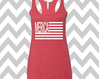 Merica Tank Top USA Tank Top Stars Tank Top Country Music Tank Top Stars and Stripes America Flag Tank Top Flag Tee 4th Of July Shirt