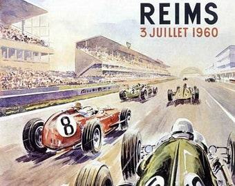 Vintage 1960 Reims French Grand Prix Motor Racing Poster  A3 Print