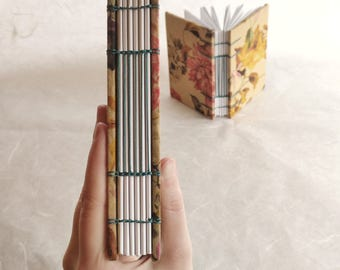 DISCOUNTED A6 floral print Coptic stitch notebook sketchbook travel journal (11x15 cm) quaderno artigianale, blocco per schizzi
