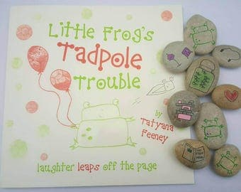Little Frogs Tadpole trouble book and story stones