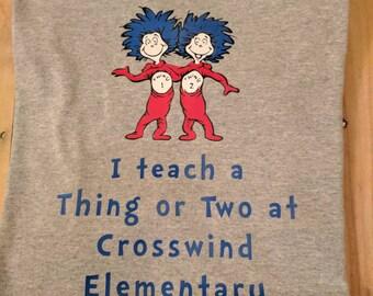 Dr Seuss teacher shirt , thing one thing two shirt, custom Dr Seuss shirt