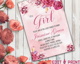 It's A Girl Baby Shower Invitation, Girl Baby Shower Invitation, Baby Shower For Girl, Floral, Watercolor, Boho, Bohemian, Instant Download