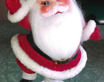 Kitschy Christmas Santa, flocked Santa, vintage Santa